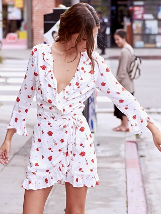 Charlie Holiday Valentine Wrap Dress White and Floral