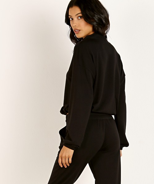 Beyond Yoga By Request Cozy Fleece Cropped Pullover Black