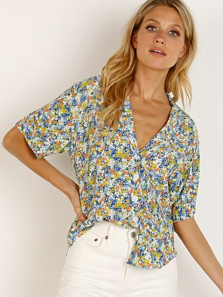 Model in vionette print Faithfull the Brand Ostuni Shirt