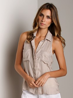Bella Dahl Sofia Twill Sleeveless Split Back Pumice