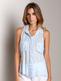 Bella Dahl Sofia Twill Sleeveless Split Back Pale Blue