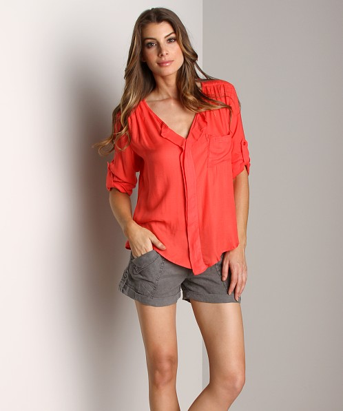 Bella Dahl Sofia Twill Drape Placket Shirt Bright Red