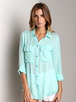 Bella Dahl Patch Pocket Button Down Aqua Foam