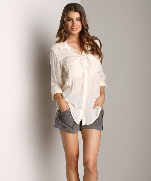 Bella Dahl Patch Pocket Button Down Bone