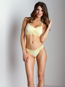 Splendid Intimates Fruit Fusion Lace Mesh Thong Lemon Yellow