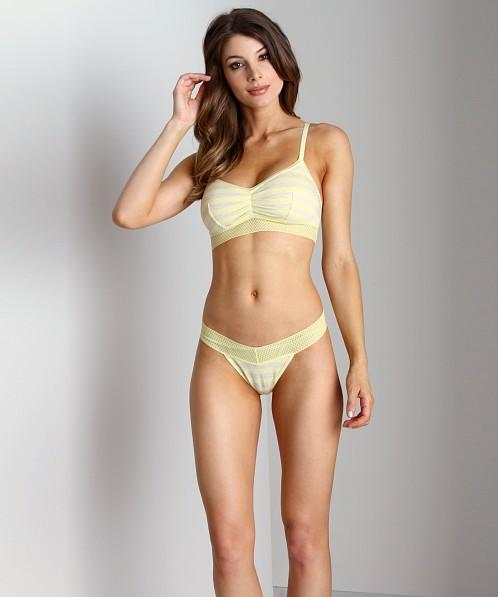 yellow lemon mesh and eyelash lace bra model