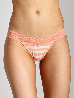 Splendid Intimates Fruit Fusion Lace Mesh Thong Papaya Stripe