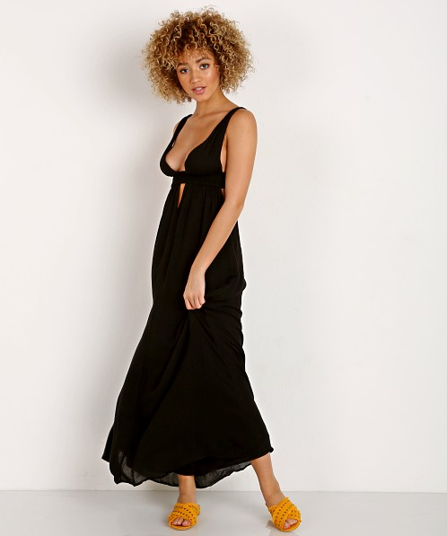 Indah Anjeli Plunge Maxi Dress Black