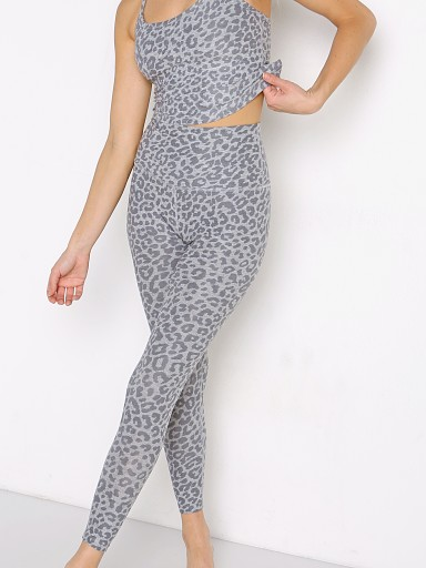 Model in silver mist leopard Beyond Yoga Spacedye Printed Caught In The Midi High Waisted Leg