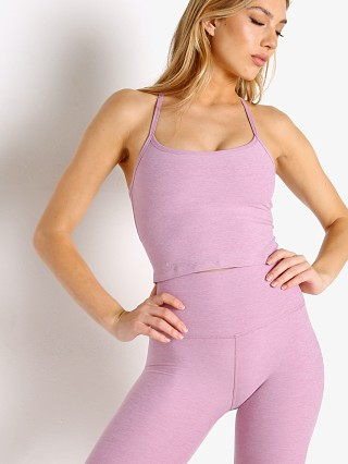 Model in orchid haze Beyond Yoga Spacedye Slim Racerback Cropped Tank