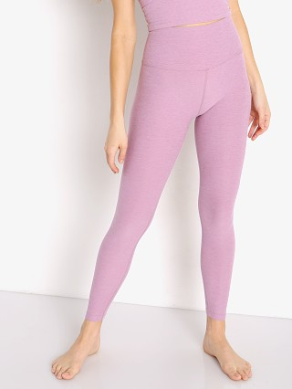 Model in orchid haze Beyond Yoga Spacedye Midi High Waisted Legging