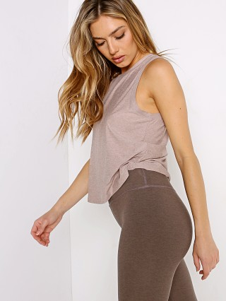 Model in chai Beyond Yoga Featherweight Spacedye Balanced Muscle Tank