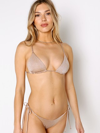 Model in champagne L Space Brittany Bikini Top