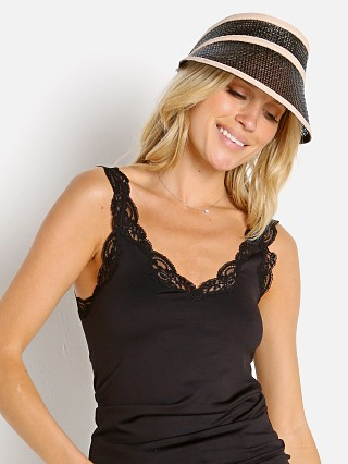 Model in black Janessa Leone Constance Visor