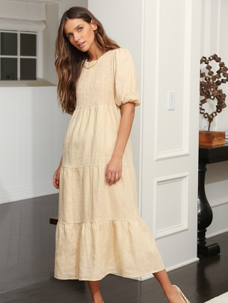 Model in plain sand Faithfull the Brand Alberte Dress