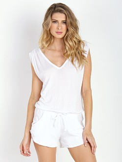 LNA Clothing Lag Tank Romper White