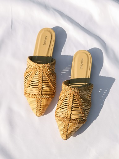 Kaanas Madeira Pointy Basketweave Mule Sand
