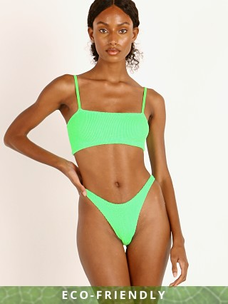 Model in lime Hunza G New Gigi Bikini Set