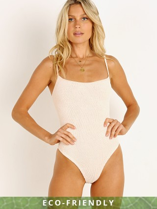 Model in blush nude Hunza G Pamela One Piece Cream