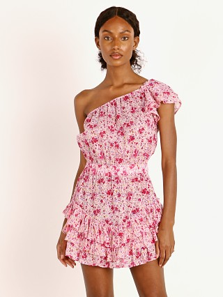 Model in pink watercolor Poupette St. Barth Mini Dress Kaia Ruffled