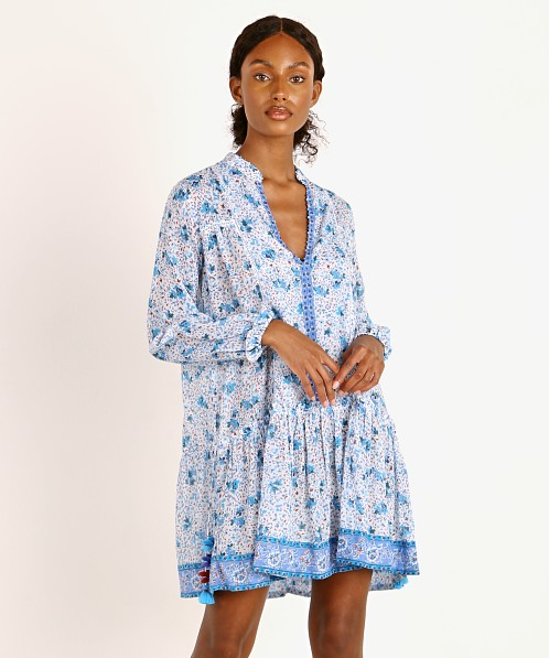 Poupette St. Barth Mini Dress Sylvia Drop Waist Blue Watercolor