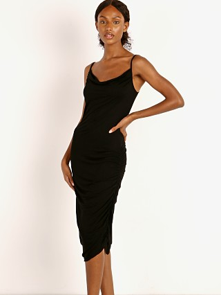 Model in black Indah Cloud Gathered Side Dress