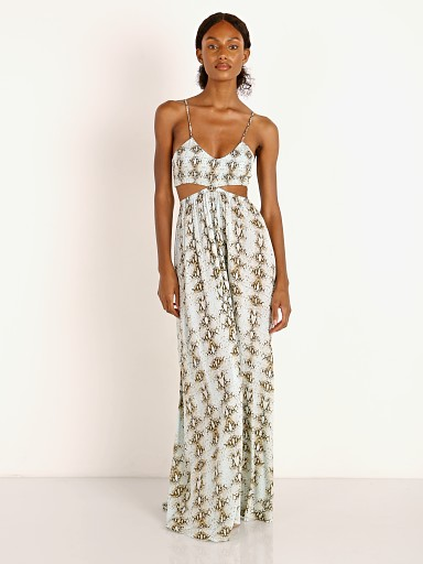 Model in water viper Indah Innocence Printed Maxi Dress