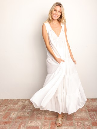 Model in white 9seed Lighthouse Beach Sleveless Tier Maxi Dress