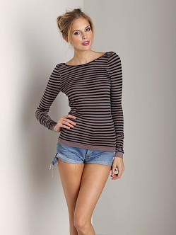Free People Bella Coachella Seamless Striped Low Back Cami Mocha