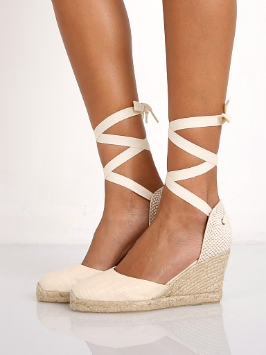 Model in blush Soludos Tall Wedge in