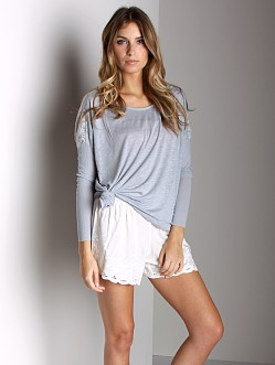 Free People Boxy T-Shirt With Lace Misty Blue