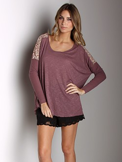 Free People Boxy T-Shirt With Lace Dusty Plum