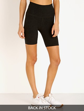 Model in darkest night Beyond Yoga Spacedye High Waisted Biker Short