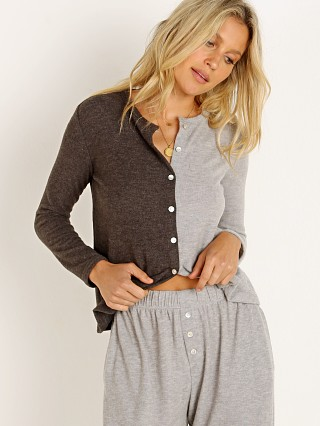 Model in charcoal/heather DONNI. Duo Sweater Cardi