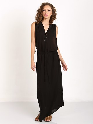 Indah Pamela Lace Up Maxi Dress Black