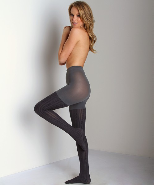 SPANX Uptown Tight-End Tights Cable Knit Sweater Charcoal