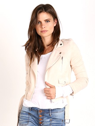 Model in creme suede Wyldr You Aren't The First Jacket Creme