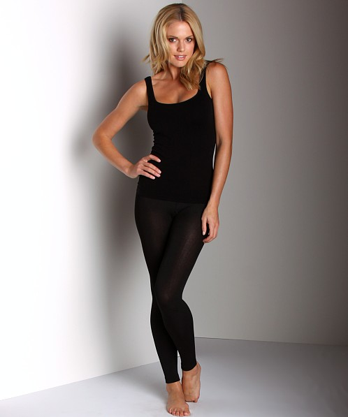 Plush Footless Fleece-Lined Tights Black