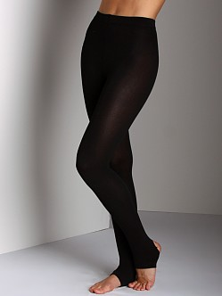 Plush Stirrup Fleece-Lined Tights Black