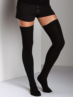 Plush Fleece-Lined Thigh Highs Black