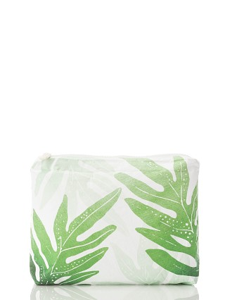 Aloha Small Zipper Bag Kupua'e Molokai Green + White