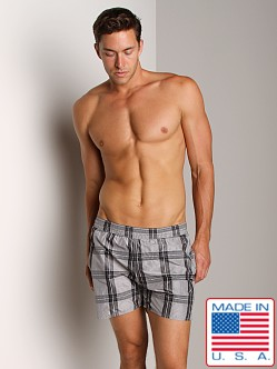 Sauvage Italian Nylon Sun Plaid Shorts Charcoal