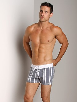 Sauvage Designer Stripes Lycra Swimmer Charcoal