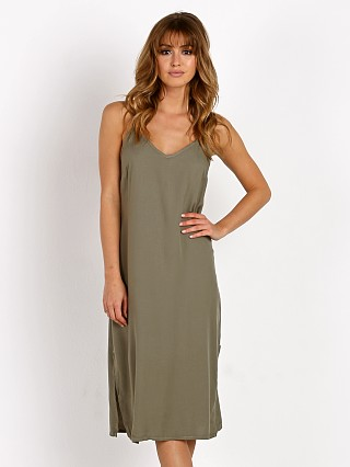 Splendid Crosshatch Slip Dress Military Olive