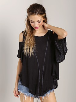 Free People Cold Shoulder Top Black