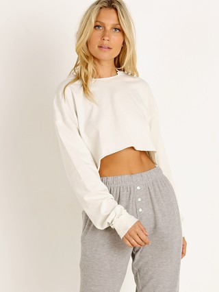 Joah Brown Distressed Cotton Long Sleeve Crop White