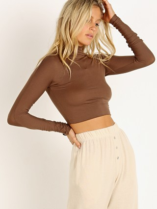 Joah Brown Cropped Mock Neck Long Sleeve Tobacco