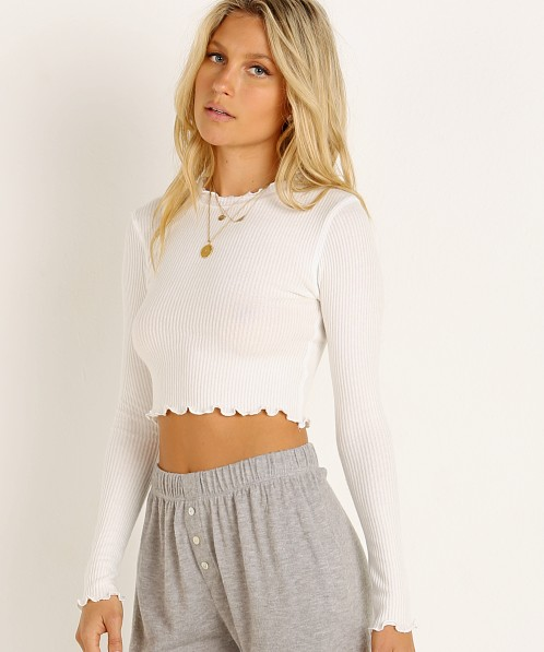 Joah Brown Scalloped Crew Neck Long Sleeve White