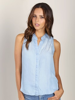 Bella Dahl Sleeveless Pleast Blouse Cool Water Wash