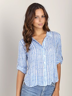 Bella Dahl Capri Button Down Shirt Shibori Blue